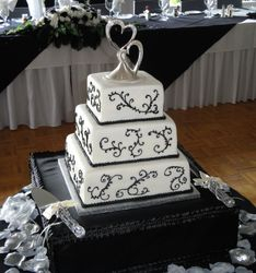 3 Tiered Wedding cake With Black Scrollwork