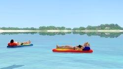 Relaxing on a floatie in the ocean
