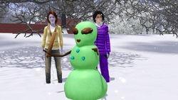 A green snowman?