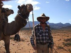 Cameleer Russell Osborne and Wabi on Beltana Station.