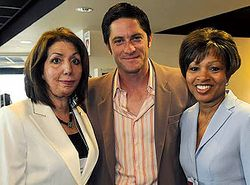Power Promises Executive director Rose Davis with actor David Conrad and Board President Ernestine Harris.