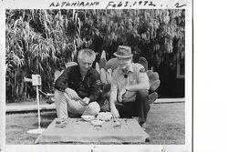 Elton Cox looking over treasure finds in 1972