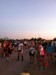 Runners getting ready to start