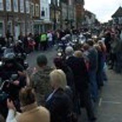 Crowds greeting bikers in RWB