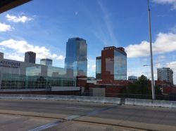 View of downtown Little Rock from streetcar window