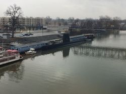 Submarine that is docked on the Arkansas River