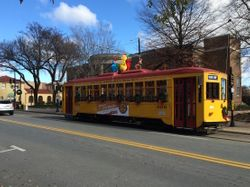 Decorated streetcar in Little Rock