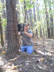 Travis getting Scoutmaster Pro Trailcam set up down at Henpeck Hollow