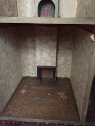 down stairs fire place