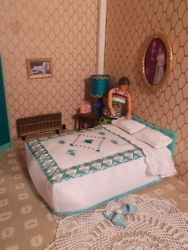 Triang turquoise bedspread