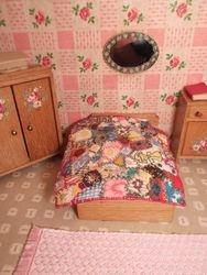 Crazy patchwork bedcover