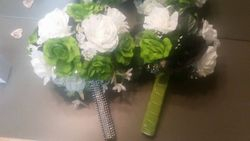 Silk Flowers - White, clover green and black  Cascage Bouquet
