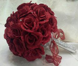 Silk  flowers - Red  Cascage Bridal  Bouquet  w/ rinestone hand