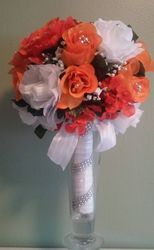 Silk  flowers - Orange and White  Cascage Bridal  Bouquet