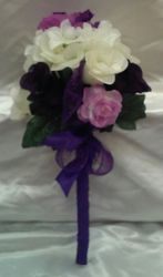 purple  and white  long handle  held Throw Bouquet