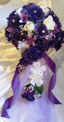 Silk  flowers - Purple  and White  Cascage Bridal  Bouque