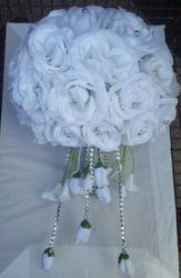 Silk White Cascage Bouquet w/ rinestone handle