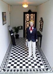 Bertie in his hallway