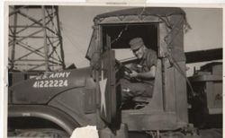 Me in early version of 2 1/2 ton truck with Automatic Transmission 1964