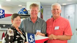 Val and Chris given their Burgee