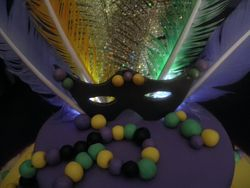 Close up of light up mardi Gras mask