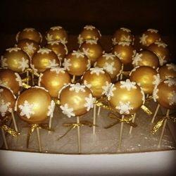 Christmas Themed Gold Cake Pops