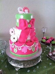 Pink, Neon Green Baby Shower Girl Cake