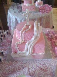 Girl Baptism Cake (close-up)