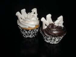 Engagement party cupcakes with his & her initials