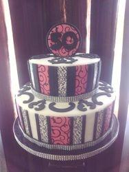 Pink, Black, White 50th Birhday Cake