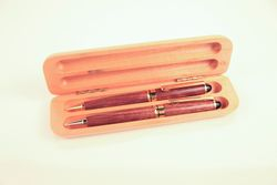 walnut pen/pencil set with maple box