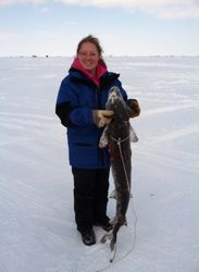 Pink Panther with her first sturgeon