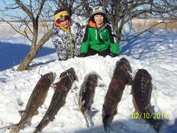 Jake and Bryce with the season's harvest