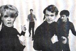 Joey Heatherton, Gene Castle, David, and Patrick Adiarte on the set of Hullabaloo