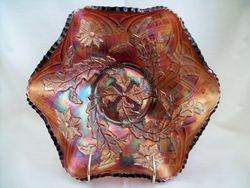 Whirling Leaves ruffled bowl - amethyst