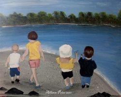Children walking on the beach.