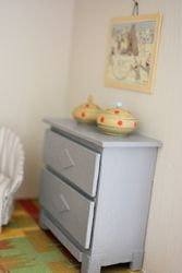 The blue chest of drawers...
