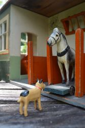 The horse and one of the dogs from my much smaller stable look quite at home here