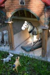 Paper maché horse and Erzgebirge dogs
