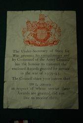 Gunner Leonard Johnson medals slip