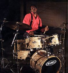 Herlin Riley playing a Pro M kit in vanilla cream pearl wrap finish