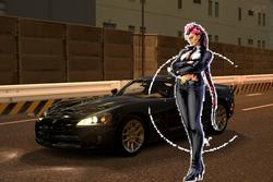 Crimson Viper and her Dodge Viper SRT10 Coupe