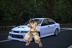 Makoto and her Mitsubishi Lancer Evolution VI
