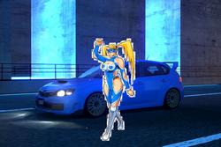 Rainbow Mika and her Subaru Impreza WRX STi Spec C