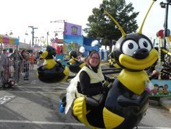 Cynthia rides the Big Bee
