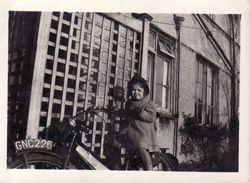 Anne on her dad's motorbike. 1944 11 Rising Lane