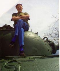 Ex-Corporal Frank Dennis Gent on tank.