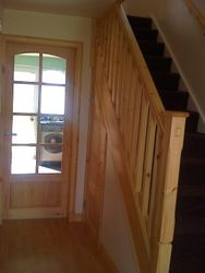 pine banister and pine glass panelled wickes doors