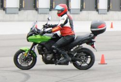 Some bikes have shorter turning radii than others. Kawi Versys.