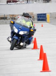 Instructor Jim shows how it's done in the high speed weaving course on a 1,000 pound Goldwing.